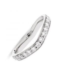 Platinum half hoop wishbone shape diamond wedding ring. 0.40cts