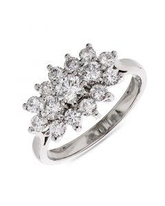 Platinum multi stone cluster engagement ring. 1.11cts