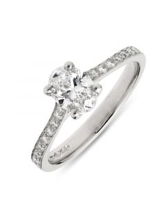 Platinum oval cut single stone ring with diamond shoulders. 0.71cts
