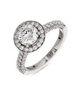 Platinum brilliant round cut diamond halo engagement ring. 1.01cts