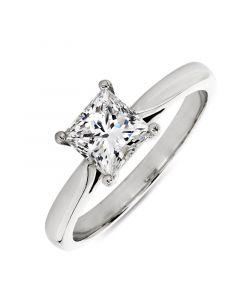 Platinum princess cut single stone engagement ring. 1.03cts