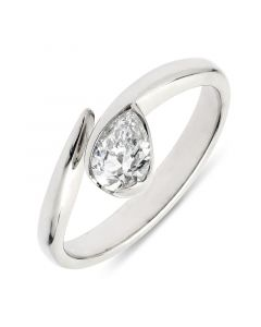 Platinum fancy pear shape contemporary engagement ring. 0.51cts