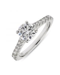 Platinum brilliant round cut single stone engagement ring. 0.91cts