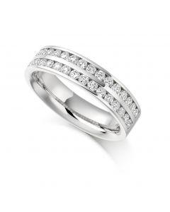 Platinum 5.25 2 row brilliant round cut diamond half hoop eternity ring. 0.75cts