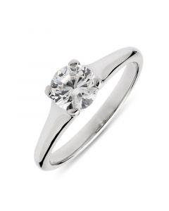 Platinum brilliant round cut diamond single stone engagement ring. 0.85cts