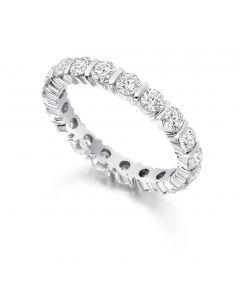Platinum 3mm brilliant round cut full hoop eternity ring. 2.00cts