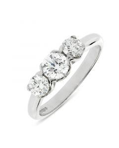 Platinum brilliant round cut diamond three stone engagement ring. 0.55cts