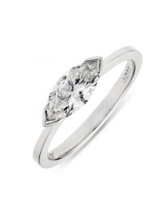 Platinum single stone marquise diamond engagement ring. 0.75cts