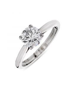 Platinum brilliant round cut single stone diamond engagement ring. 1.00cts