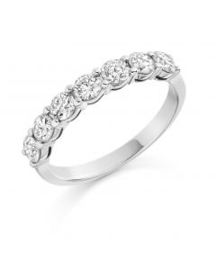 Platinum 3.5mm 7 stone brilliant round cut diamond eternity ring. 1.00cts