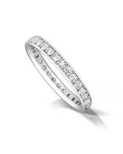 Platinum 3mm wedding ring with brilliant round cut diamonds. 0.80cts