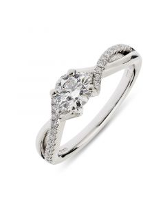 Platinum brilliant round cut single stone ring with diamond shoulders. 0.50cts