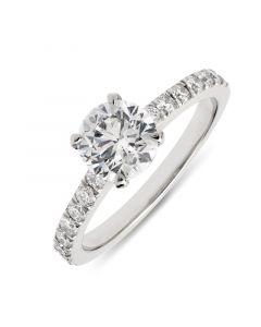 Platinum brilliant round cut single stone engagement ring. 1.00cts