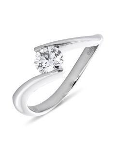 Platinum brilliant round cut diamond single stone engagement ring. 0.56cts