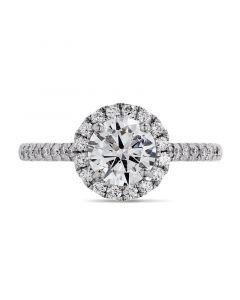 Platinum brilliant round cut diamond halo engagement ring. 1.00cts