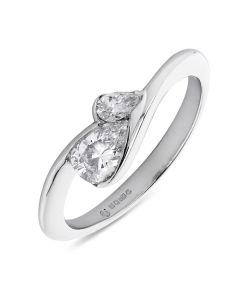 Platinum two stone pear shape diamond engagement ring. 0.44cts