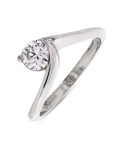 Platinum brilliant round cut diamond single stone engagement ring. 0.50cts