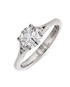 Platinum brilliant round cut single stone engagement ring. 0.90cts