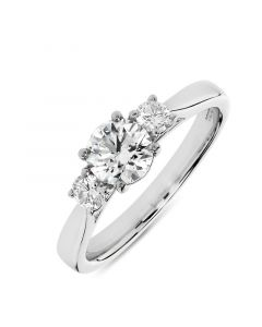 Platinum brilliant round cut diamond three stone engagement ring. 0.70cts