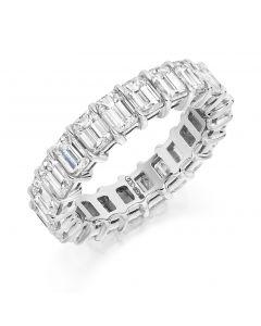 Platinum 5.2mm emerald cut full hoop eternity ring. 6.00cts