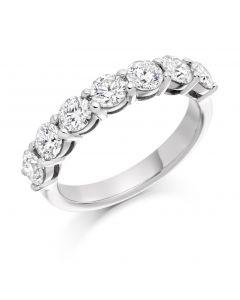 Platinum 3.8mm 7 stone brilliant round cut diamond eternity ring. 1.50cts