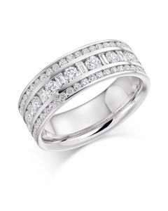18ct white gold 6.65mm round and baguette cut half hoop contemporary eternity ring. 1.30cts