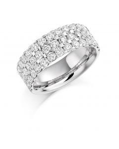 Platinum 7mm 3 row brilliant round cut diamond half hoop eternity ring. 2.25cts