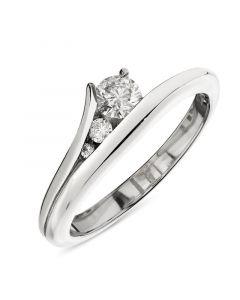 Platinum brilliant round cut three stone contemporary engagement ring. 0.25cts