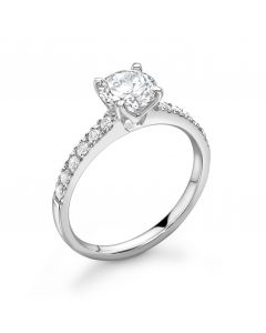 Platinum cushion cut single stone ring with diamond shoulders. 0.70cts