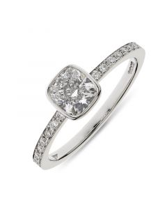 Platinum cushion cut single stone ring with diamond shoulders. 0.91cts