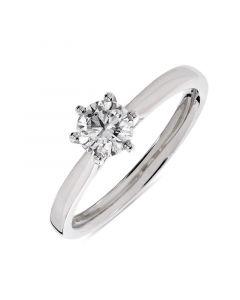 Platinum brilliant round cut single stone diamond engagement ring. 0.50cts