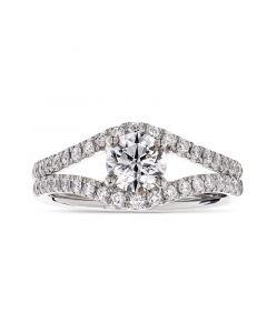 Platinum brilliant round cut single stone ring with diamond shouldrs. 1.51cts