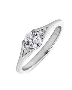 Platinum brilliant round cut single stone diamond engagement ring. 0.60cts