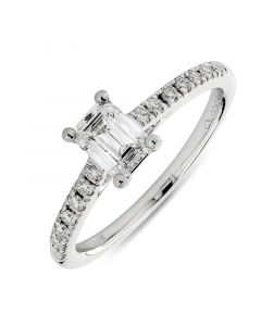 Platinum emerald cut single stone engagement ring with diamond shoulders. 0.56cts