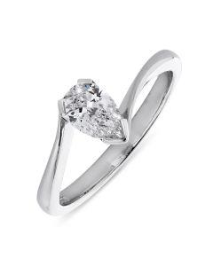 Platinum pear cut diamond single stone engagement ring. 0.54cts