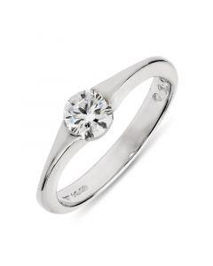 Platinum brilliant round single stone diamond engagement ring. 0.50cts