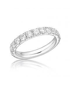 Platinum 3.10mm brilliant round cut diamond claw set full hoop eternity ring. 1.01cts