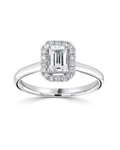 Platinum emerald cut diamond halo engagement ring. 0.71cts