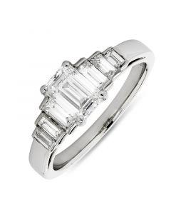 Platinum emerald five stone diamond engagement ring. 0.70cts