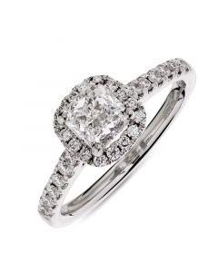 Platinum cushion cut diamond halo engagement ring. 0.81cts