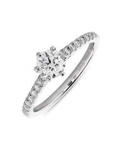 Platinum brilliant round cut single stone ring with diamond shoulders. 0.51cts