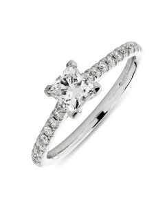 Platinum princess cut single stone engagement ring with diamond shoulders. 0.54cts