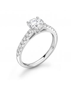 Platinum brilliant round cut single stone ring with diamond shoulders. 0.71cts