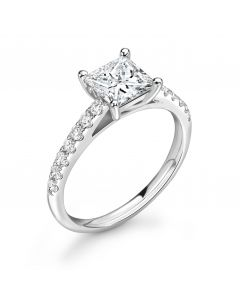 Platinum princess cut single stone engagement ring with diamond shoulders. 1.03cts
