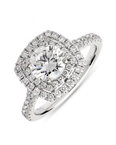 Platinum brilliant round cut double halo engagement ring with diamond shoulders. 1.01cts