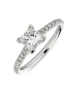 Platinum princess cut single stone engagement ring with diamond shoulders. 0.71cts