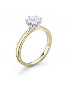 18ct yellow gold brilliant round cut single stone diamond engagement ring. 0.70cts