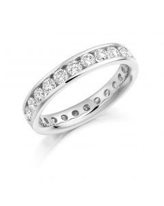 Platinum 4.3mm brilliant round cut full hoop eternity ring. 1.66cts