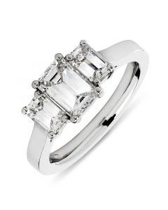 Platinum emerald three stone diamond engagement ring. 0.90cts