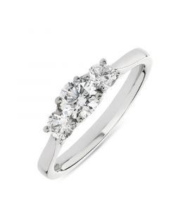 Platinum brilliant round cut diamond three stone engagement ring. 0.42cts